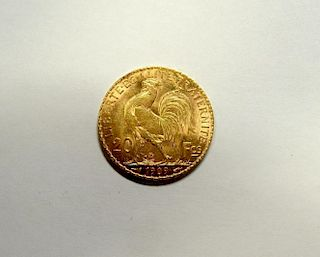 France - gold 20 francs coin, 1909, good/EF, scarce 6.6gm