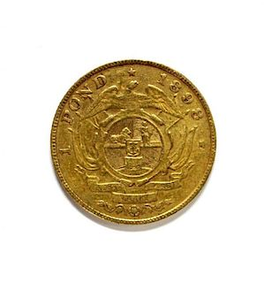 South Africa - gold one pond coin, 1898, F or better