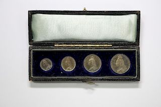 A cased set of four Victorian silver Maundy coins, 1891 (1d, 2d, 3d & 4d)