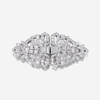 An Art Deco diamond and platinum clip/brooch