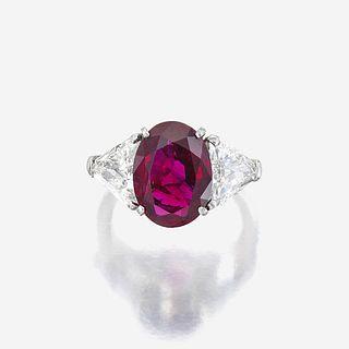 A ruby, diamond, and eighteen karat white gold ring