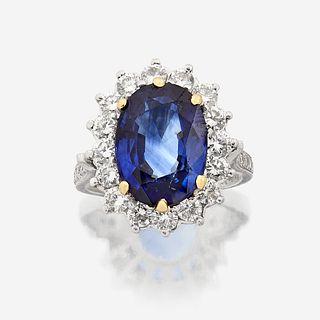 A sapphire, diamond, and platinum ring