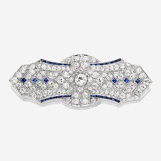 An Art Deco diamond and platinum brooch
