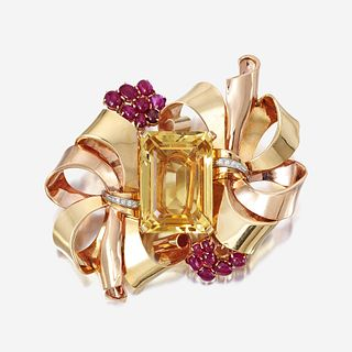 A Retro fourteen karat bicolor gold, citrine, and ruby brooch