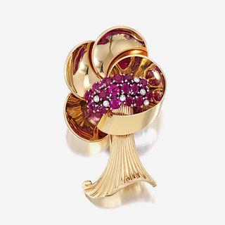 A Retro fourteen karat gold, ruby, and diamond brooch
