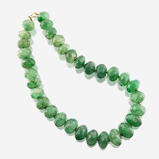A green beryl and eighteen karat gold necklace
