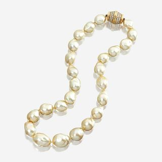 A South Sea baroque cultured pearl, diamond, and eighteen karat gold necklace