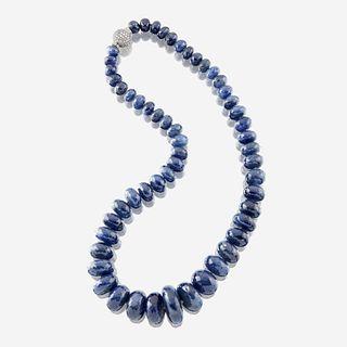 A sapphire, diamond, and platinum necklace