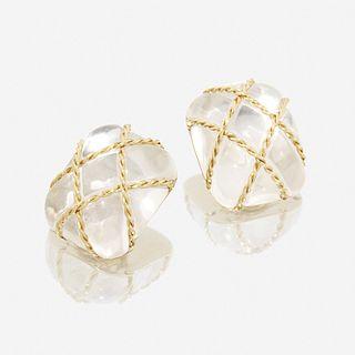 A pair of rock crystal and eighteen karat gold earrings, Seaman Schepps Cage