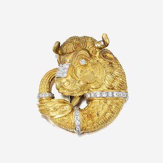 An eighteen karat gold, platinum, and diamond pendant/brooch, David Webb