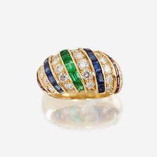 A diamond, sapphire, emerald, ruby, and eighteen karat gold ring, Cartier