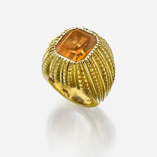 An eighteen karat gold and citrine ring, Verdura