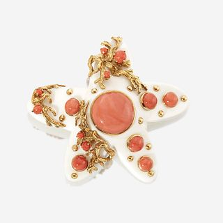 A white and red coral and eighteen karat gold brooch, Seaman Schepps