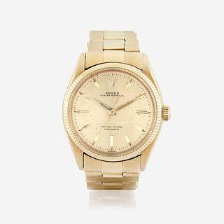 An eighteen karat gold, automatic, bracelet wristwatch, Rolex Oyster Perpetual, c. 1947