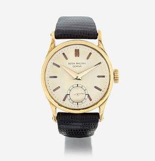 An eighteen karat gold strap wristwatch, Patek Philippe Calatrava, circa late 1930's