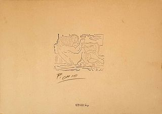 Minotauro Bebiendo y Mujer, A PICASSO ETCHING, Signed