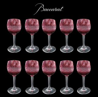 French Baccarat Red Crystal Glasses Set (10 Pieces)