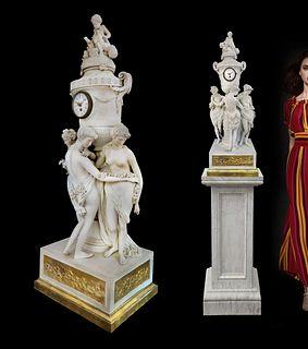 Three Graces, 19th C. Bisque Bronze Figural Clock