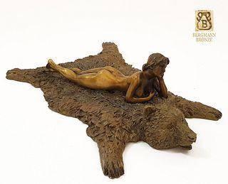 Nude Lady Bear Rug, Rare Franz Bergman Bronze Figurine