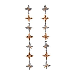 18k Gold Diamond Butterfly Long Drop Earrings