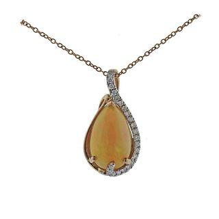 Kallati Opal Diamond Gold Pendant Necklace