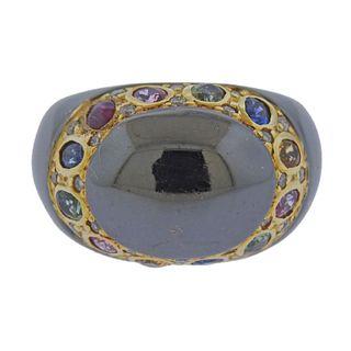 18k Gold Diamond Multi Sapphire RIng