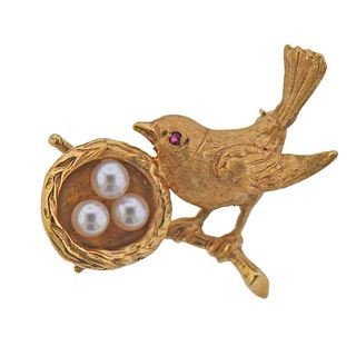 1960s 14k Gold Pearl Ruby Bird Nest Brooch Pin