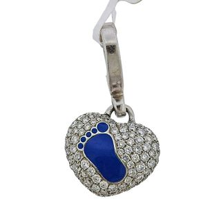 Theo Fennell Gold Diamond Blue Baby Foot Heart Charm Pendant
