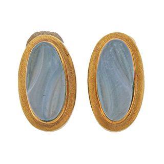 Burle Marx Aquamarine Forma Livre 18k Gold Earrings