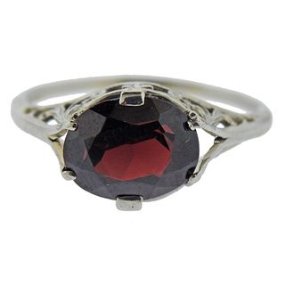 18k Gold Filigree Garnet Ring
