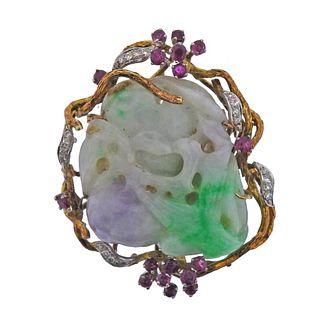 14k Gold Carved Jade Ruby Diamond Brooch Pendant