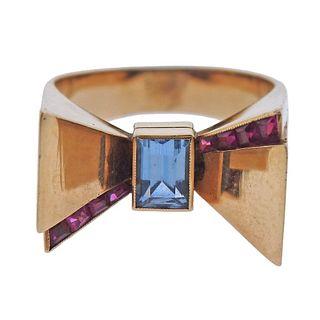 Retro 14k Gold Aquamarine Ruby Bow Ring