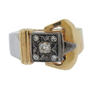 1940s 14k Gold Silver Diamond Buckle Ring