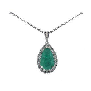 Kallati Colombia Emerald Diamond Gold Pendant Necklace