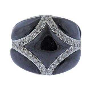 14k Gold Onyx Diamond Dome Ring