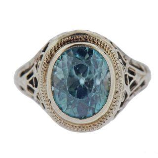 14k Gold Filigree Aquamarine Ring