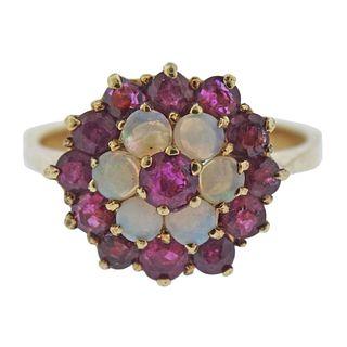 14k Gold Tourmaline Opal Flower Ring
