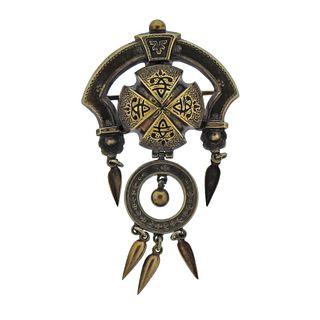 Antique Early Victorian c. 1860s Gold Enamel Brooch