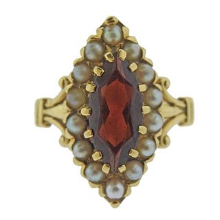 18k Gold Garnet Pearl Ring