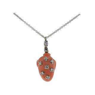 14k Gold Diamond Coral Pendant Necklace