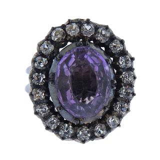 14k Gold Silver Purple Clear Stone RIng