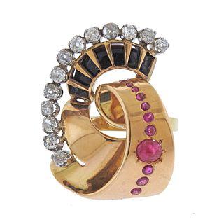 Retro 18k Gold Ruby Diamond Onyx Cocktail Ring