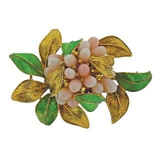 1960s 18k Gold Enamel Coral Leaf Motif Brooch