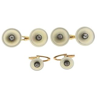Continental Art Deco Mother of Pearl Diamond Gold Cufflinks Stud Dress Set