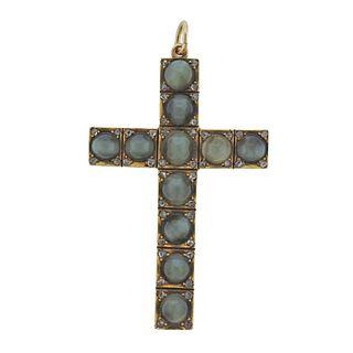 Antique 14k Gold Cat's Eye Diamond Cross Pendant