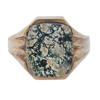 10k Gold Moss Agate Ring