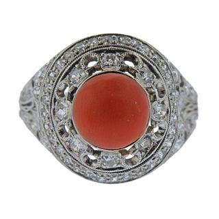 Platinum Diamond Coral Ring