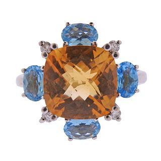 14k Gold Multicolor Gemstone Diamond Ring