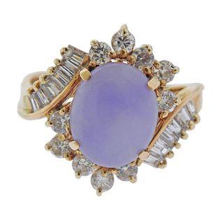 14k Gold Lavender Jade Diamond Ring