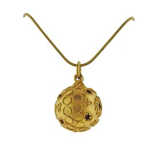14k 18k Gold Etruscan Ball on Chain Pendant